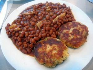 Fish Cakes and Beans (to be served with green tomato chow). Photo: Mashpee Wampanoag Education