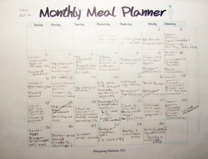 Real meal plan for Nov. (Cdn Thanksgiving was Oct. 8)