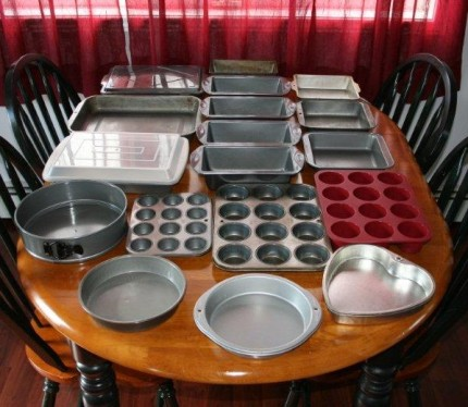 Most of my bakeware except cookie sheets, pie plates and cooling racks...