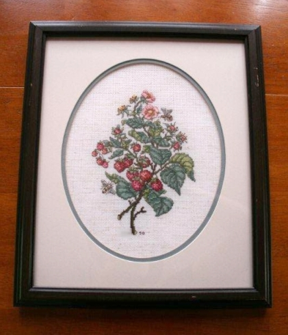 The most detailed cross-stitch I've made - raspberries -  note the year: 1990!