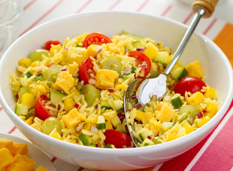 Curried rice salad with cheedar. Photo: dairygoodness.ca
