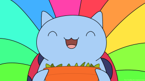 Photo of Catbug (who loves sugar snap peas): http://tet-teddy.deviantart.com/art/Catbug-Wallpaper-SUGAR-PEAS-362220672