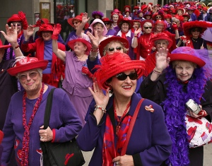 I have already been invited to join a Red Hat Society! (Photo source unknown)