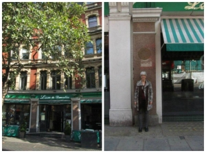 Here I am at 84 Charing Cross Road (now a restaurant)