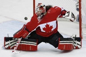 Tending your goals is hard work! Photo of Shannon Szabados by AP.