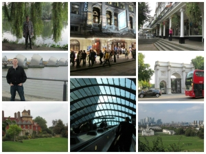 Clockwise from top left: Dar at Richmond riverbank; after the theatre; Dar at the Pantiles (Tunbridge Wells); Marble Arch at Hyde Park; View from royal Observatory in Greenwich; one of the newest of dozens of underground and rail stops we found ourselves in; Stansted (National Trust stately home); Rom at Thames Barrier