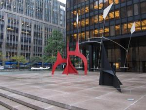 Temporary exhibit of Calder works at the Seagram Building