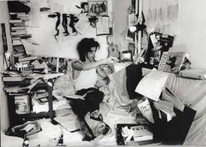 Nick Cave at work, 1985 (by Bleddyn Butcher)