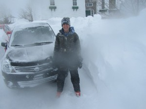 One car out - the snow drifted back the next day and had to do it over!