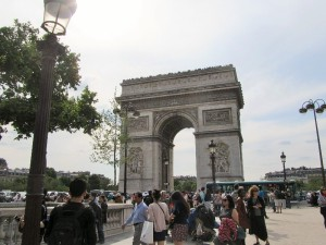 Arc de Triomphe. The throngs of us tourists were actually not too bad.