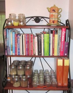 Cookbook shelf and new recipe binders (orange)