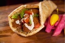 My favourite wrap: falafel, served with Lebanese pink pickled turnip and tabboueh, of course!