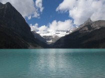 Iconic Canadian view: Lake Louise and Victoria Glacier