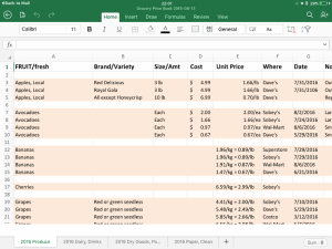 Price Book in Excel App