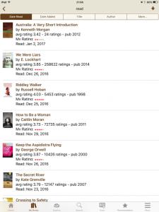 Screenshot of most recent books read - app version