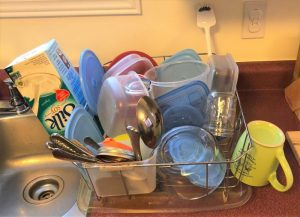 Clean dishes on drying rack