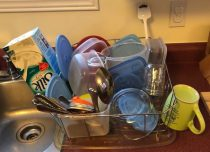 Clean dishes on draining rack