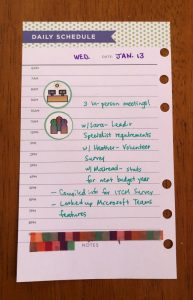 Bullet journal page with work activities listed