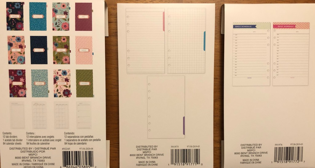 3 types of page inserts for bullet journal