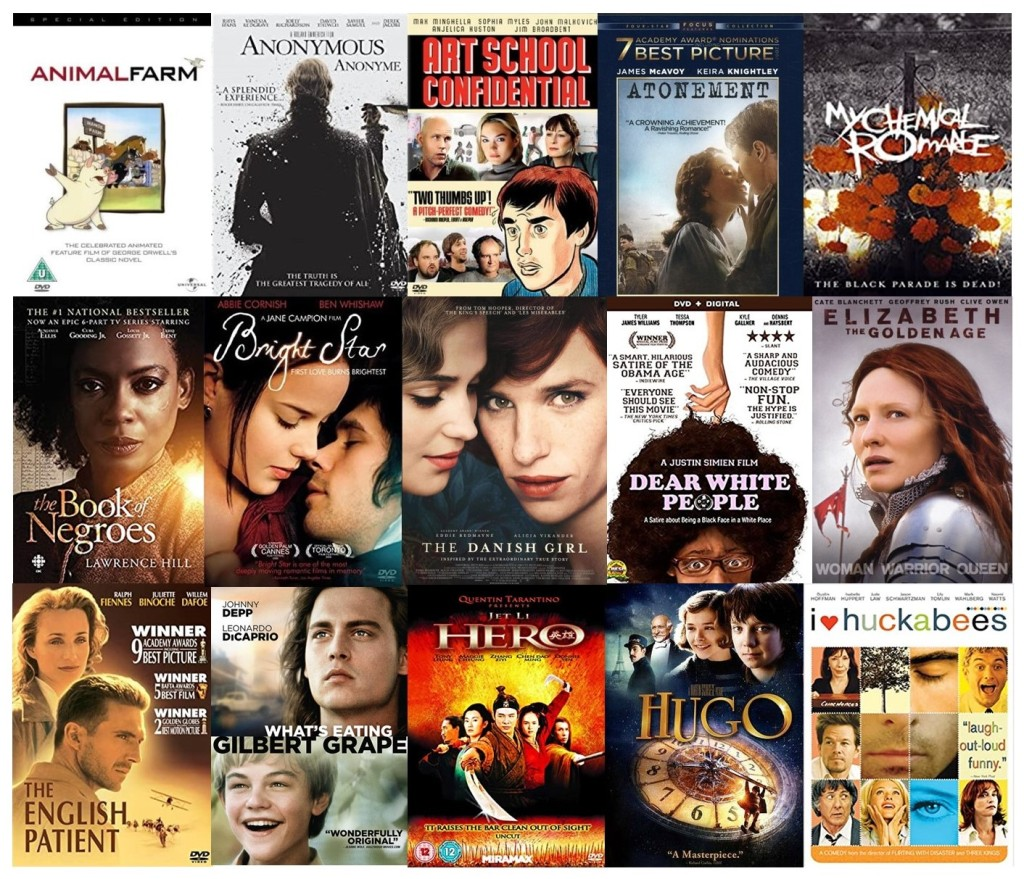 Covers of 15 assorted DVDs