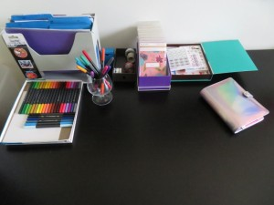Bullet journal supplies - journal, markers, stickers, washi tape