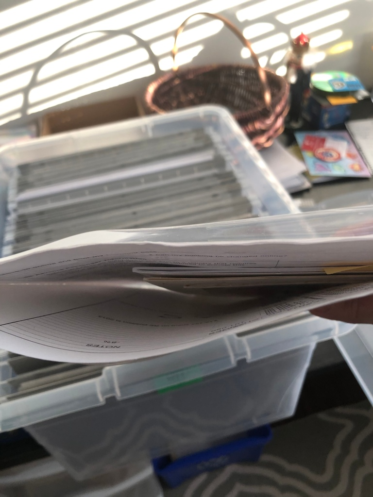 Plastic sheet protector full of papers